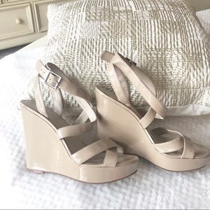 Nine West Nude Patent Wedges